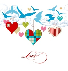 Blue birds and hearts in the sky vector image vector image