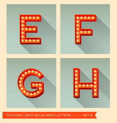 Vintage light bulb sign letters e f g h vector image vector image