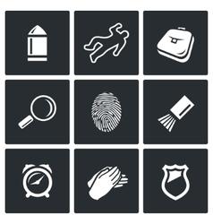 Criminalistics Search criminal icons set vector image vector image