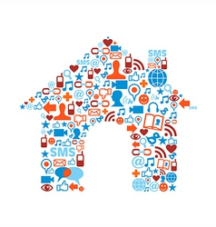 House symbol with media icons texture vector image vector image