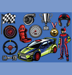 set of rally car color vector image vector image