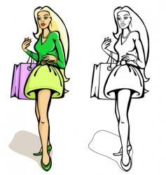 shopping women with a bag vector image vector image