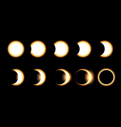 solar eclipse different phases vector image