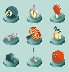 sport color isometric icons vector image vector image
