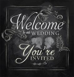 Wedding invitation chalk vector image vector image