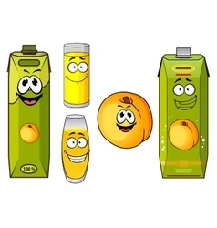 Cartoon peach juice packs fruits and glasses vector image vector image