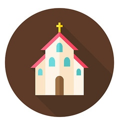 Christian Religion Church with Cross Circle Icon vector image
