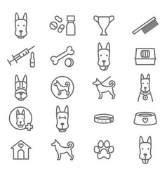 dogs and puppy black thin line icon set vector image vector image