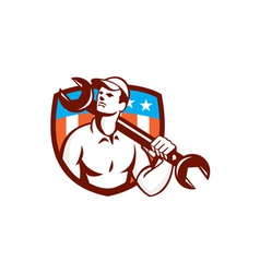 Mechanic Spanner Wrench USA Flag Retro vector image