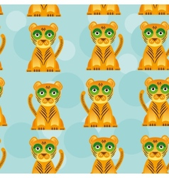 Seamless pattern with funny cute jaguar animal on vector image