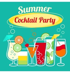 Summer cocktails party template vector