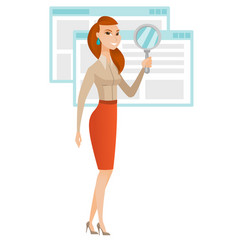 caucasian business woman with magnifying glass vector image vector image