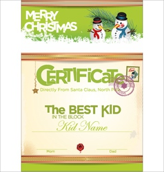 Certificate template the best kid vector image