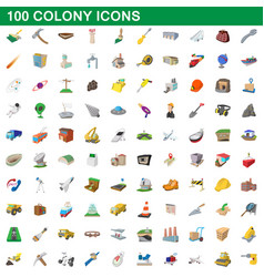100 colony icons set cartoon style vector