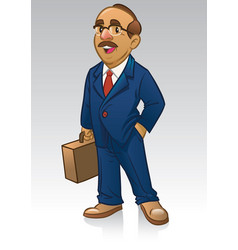 Adult business man in suit and bring the briefcase vector