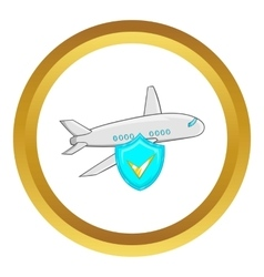 Aircraft and sky blue shield with tick icon vector