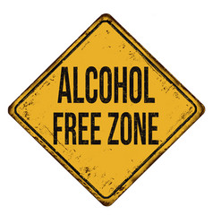Alcohol free zone vintage rusty metal sign vector
