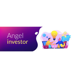 Angel investor concept banner header vector