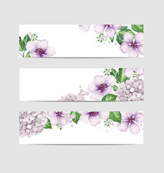 Apple tree flowers in watercolor style isolated on vector