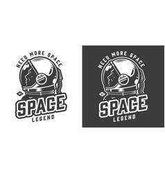 Astronaut in space helmet badge vector