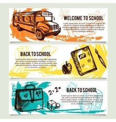 Back to school banners website header set vector image