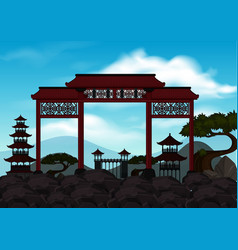 Background scene with chinese door on the rocks vector