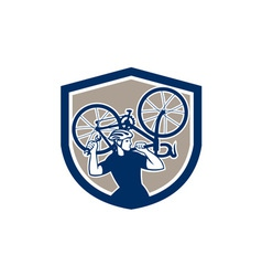 Bicycle Mechanic Carry Bike Shield Retro vector image