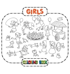 Big coloring book with playing girls vector image