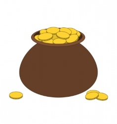 brown clay pot with gold vector image