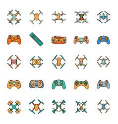 cartoon drone icons set vector image