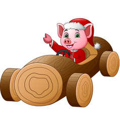 cartoon pig in santa red costume driving a wooden vector image