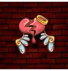Cartoon tattoo style red broken heart vector