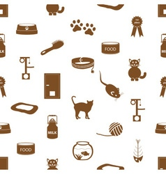 cats pets items simple icons seamless pattern vector image