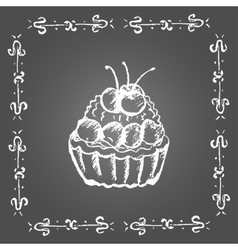 Chalk dessert with cherry Vintage frame vector