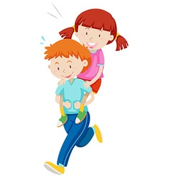 Children playing piggy back ride vector image