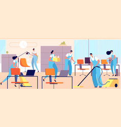 cleaning workers in office cartoon woman clean vector image