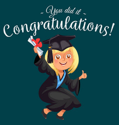 Congrats colorful flat poster with happy graduate vector