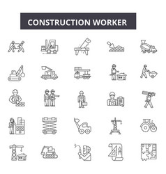 Construction worker line icons for web and mobile vector