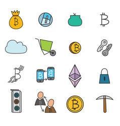 Cryptocurrency doodle icons set vector