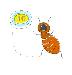 cute cartoon concept with funny bug ant and name vector image