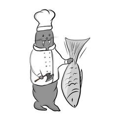 Cute cartoon walrus in a vector