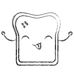 Delicious toast bread kawaii character vector