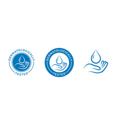 dermatologically tested label with water drop vector image