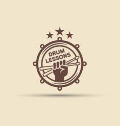 drum school isolated round emblem vector image