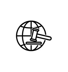 Earth line icon with hammer justice symbol simple vector