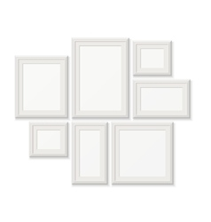 Empty white pocture frames 3d photo borders vector