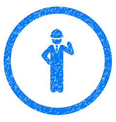 engineer rounded grainy icon vector image