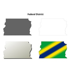 Federal District blank outline map set vector