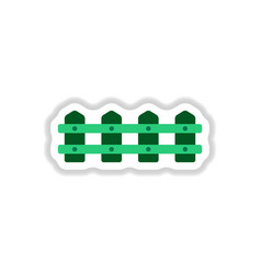 Fence icon in paper sticker style vector