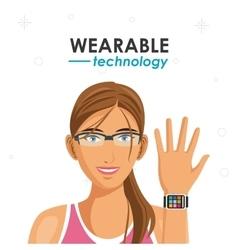 Fitness woman watch wearable technology vector